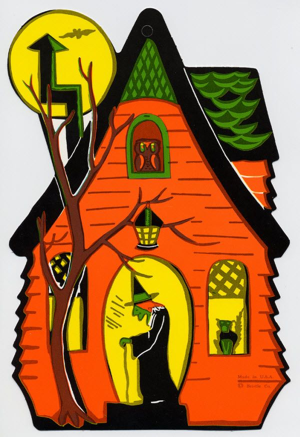 haunted house with witch vintage beistle halloween decoration - Halloween Vintage Decorations