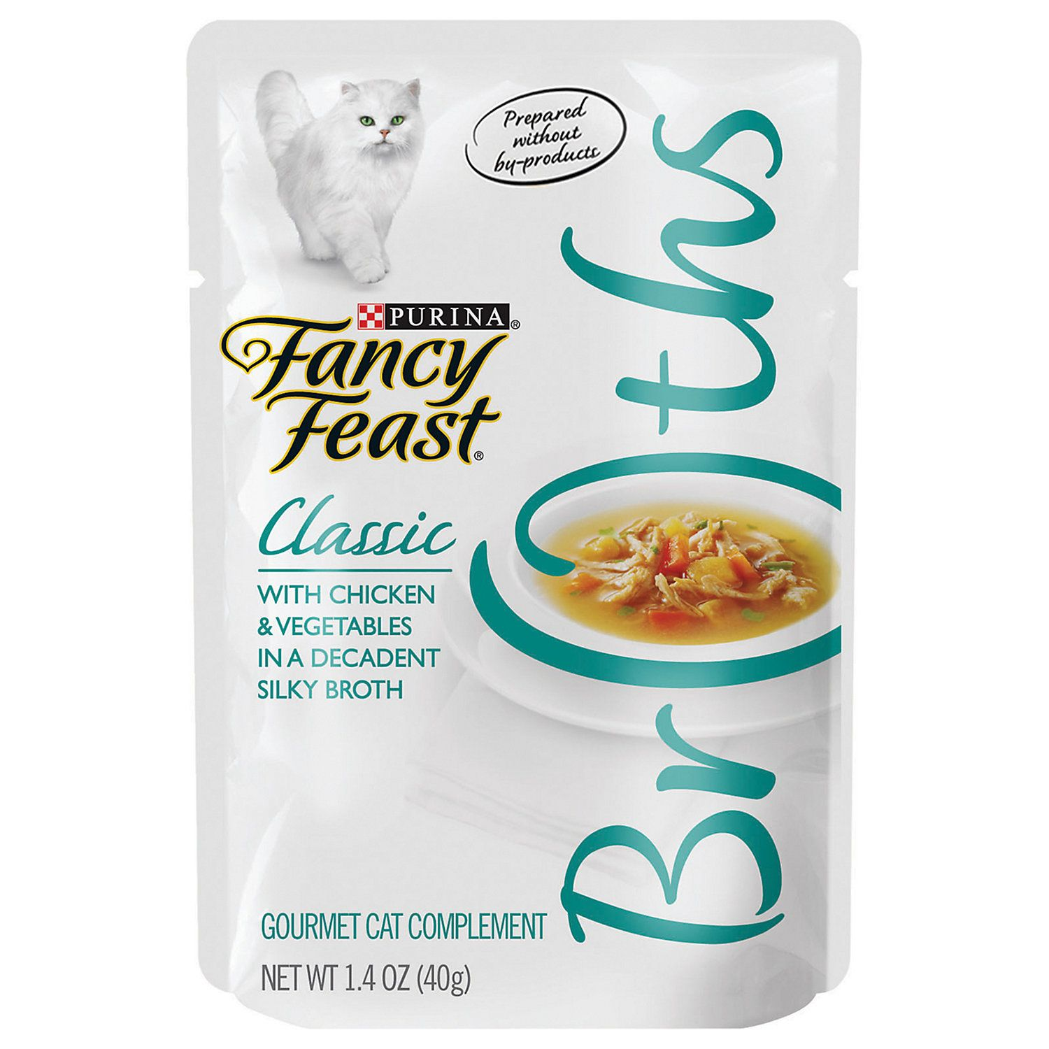 Fancy Feast Broths Classic Chicken Vegetables Cat Food Complement 1 4 Oz Case Of 16 Cat Food Chicken Vegetables