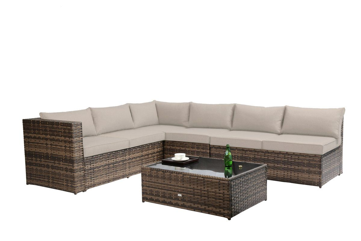 Fewell sectional with cushions outdoor decor furniture
