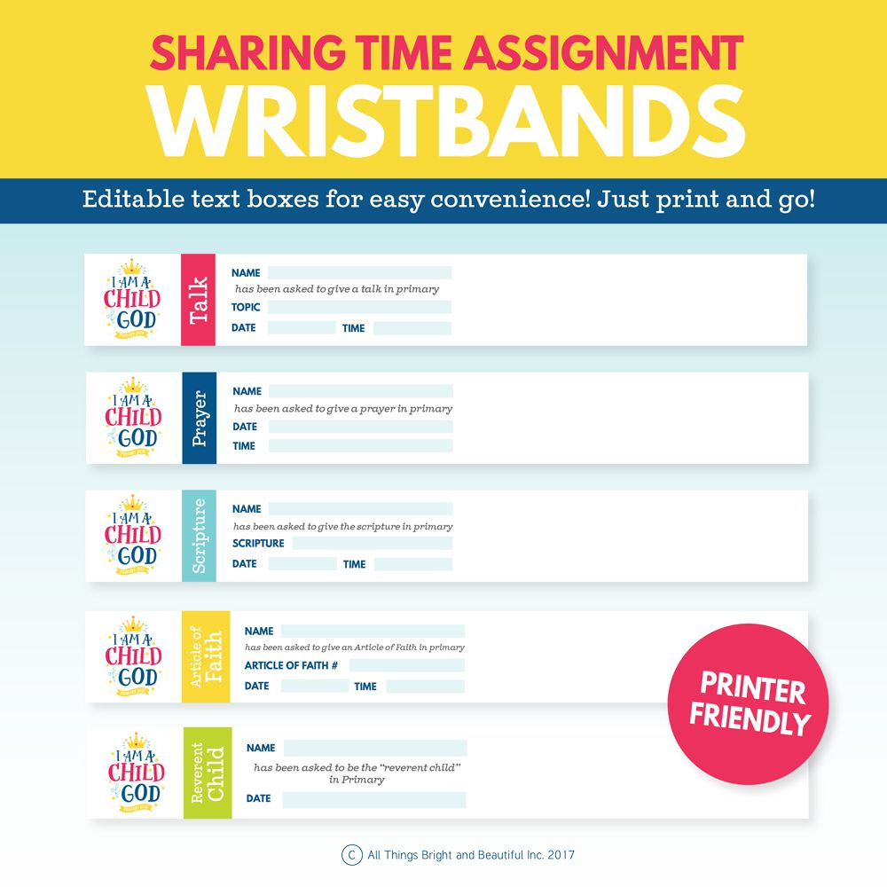 2018 lds primary sharing time assignment wristbands for Idea door primary sharing time
