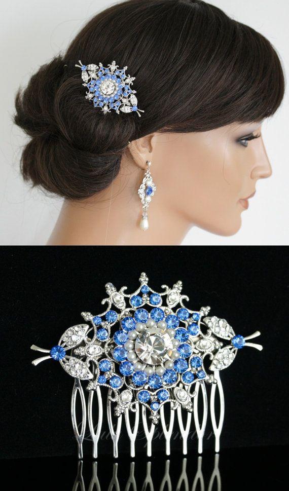Bridal Hair Comb Blue Wedding Hair Accessories Bridal Hair Comb