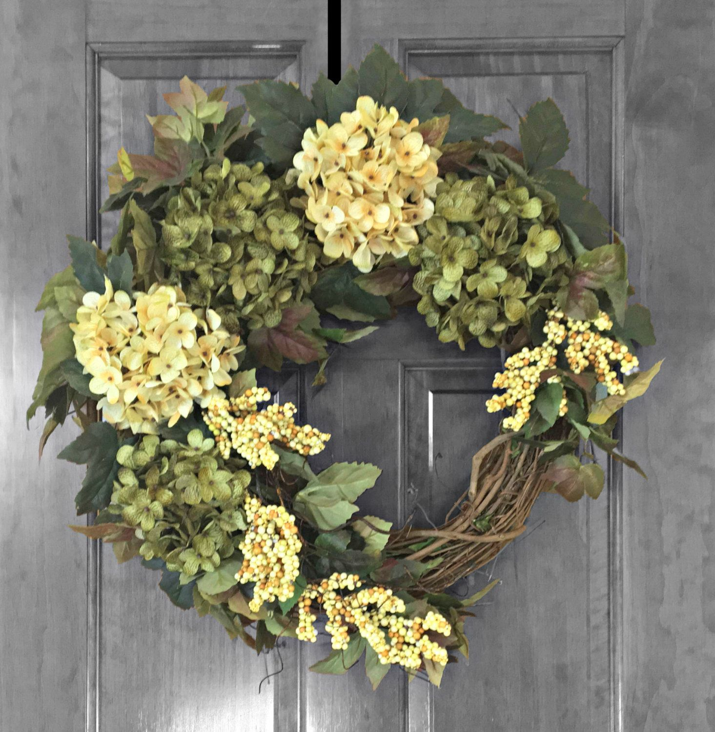 Summer Wreath, Front Door Wreaths, Green Hydrangea Wreath, Door Decoration, Year  Round