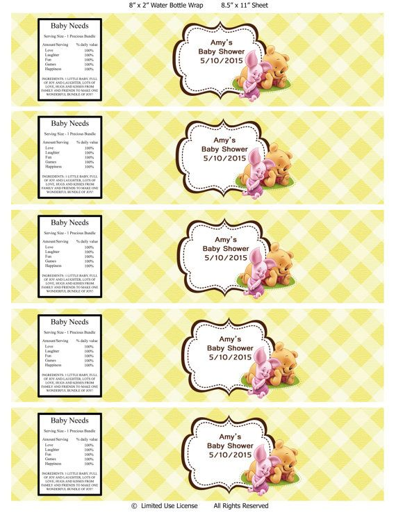 Winnie the pooh baby shower water bottle labels