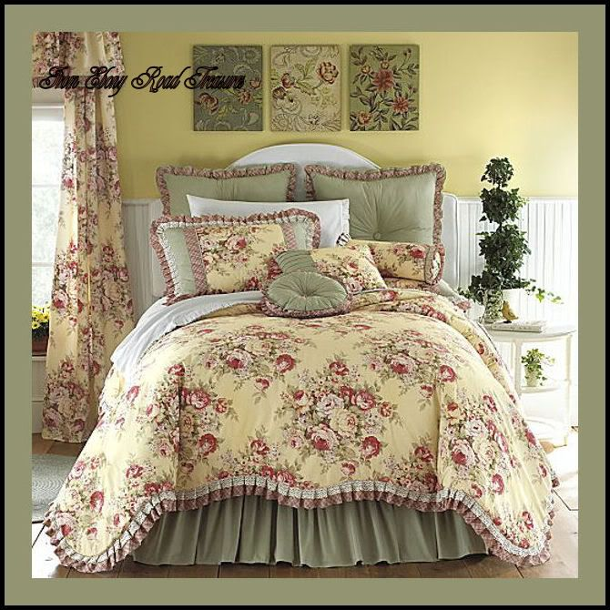 stunning Toile Bed Skirts Part - 1: yellow floral bedding | Details about 11 KING BUTTERY YELLOW FLORAL TOILE  COMFORTER SET