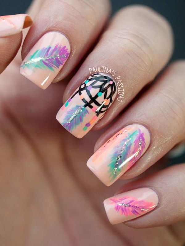 Beige Nail Design with Dreamcatcher and Feather Accents. Very pretty! I  have to say, I am really into this feather design. - Beige Nail Design With Dreamcatcher And Feather Accents. Very Pretty