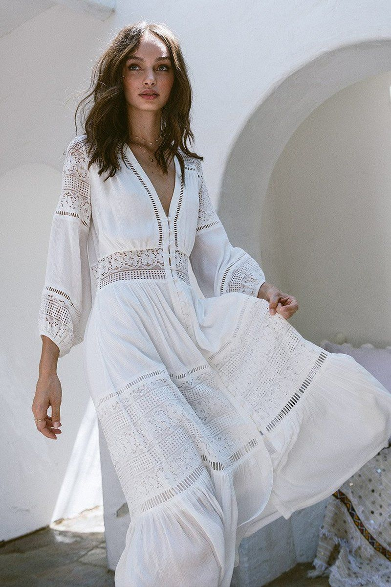 Vneck lace stitching white cotton wrinkle long sleeve maxi dress in
