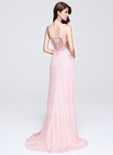 dd47a07b5e4 A-Line Princess V-neck Sweep Train Chiffon Prom Dress With Appliques Lace  (018076514) - JJsHouse