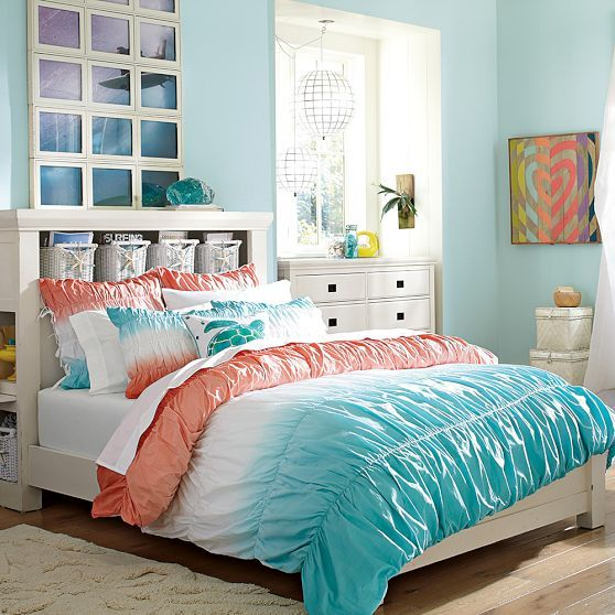 Perfect Teenage Girl Bedroom dip dye ruched duvet cover + sham, coral/capri // the perfect teen