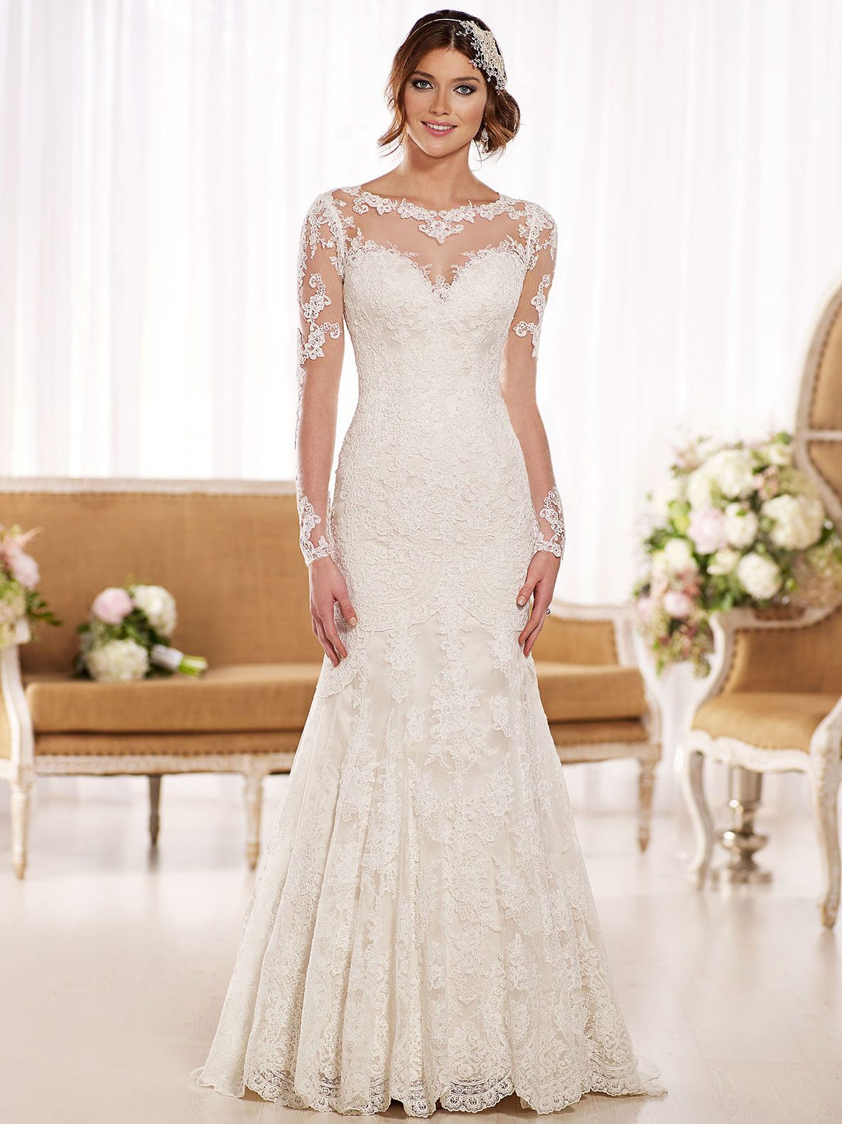 Essense wedding gown d1863 dimitradesigns wedding illusion bateau neck lace adorned fit flared lace wedding dress with long sleeves ombrellifo Choice Image