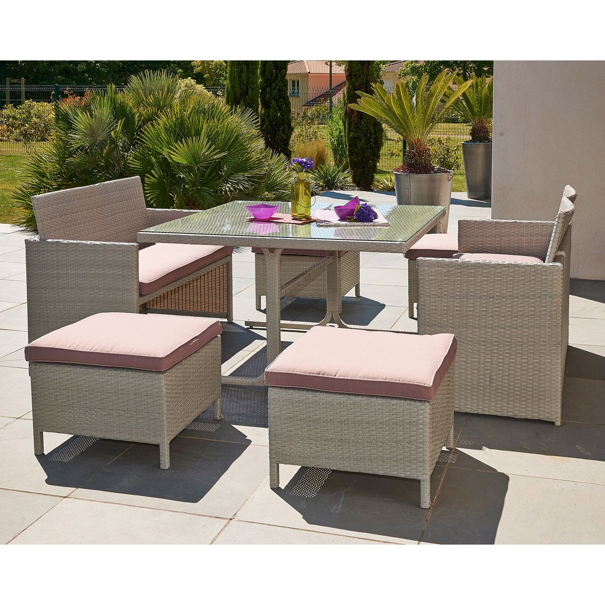 Salon De Jardin Table Carrée Ensemble De Jardin 8 Places Table Carrée 125 Cm Mobilier De
