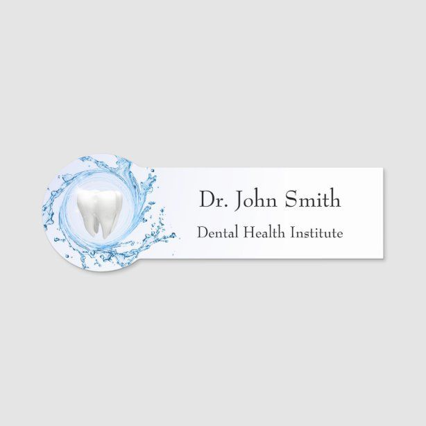 Dentist Dental Tooth Water Professional Name Tag - Dentist Gift Idea