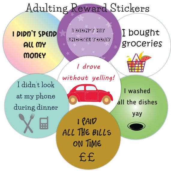 Adult reward stickers adulting sticker best friend gift funny sticker chores planner sticker round stickers scrapbooking supplies