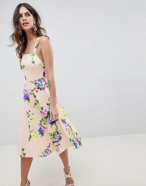 ASOS | ASOS DESIGN floral square neck prom dress | ASOS | Pinterest ...
