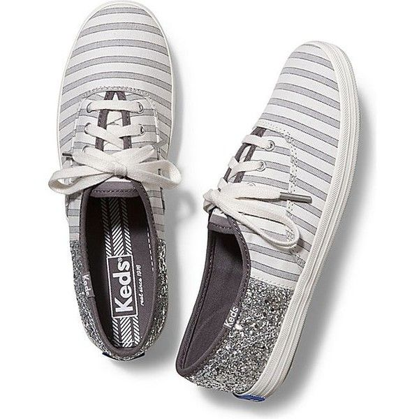 Keds Champion Cabana Stripe Glitter ($55) ❤ liked on Polyvore featuring shoes, sneakers, striped shoes, stripe shoes, lacy shoes, keds shoes and keds sneakers