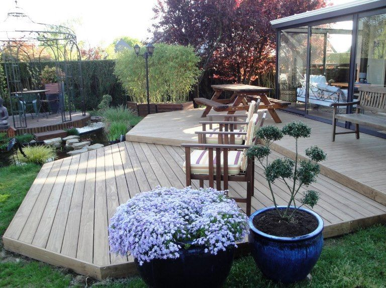 terrasse en kebony avec deux niveaux terrasse sur. Black Bedroom Furniture Sets. Home Design Ideas
