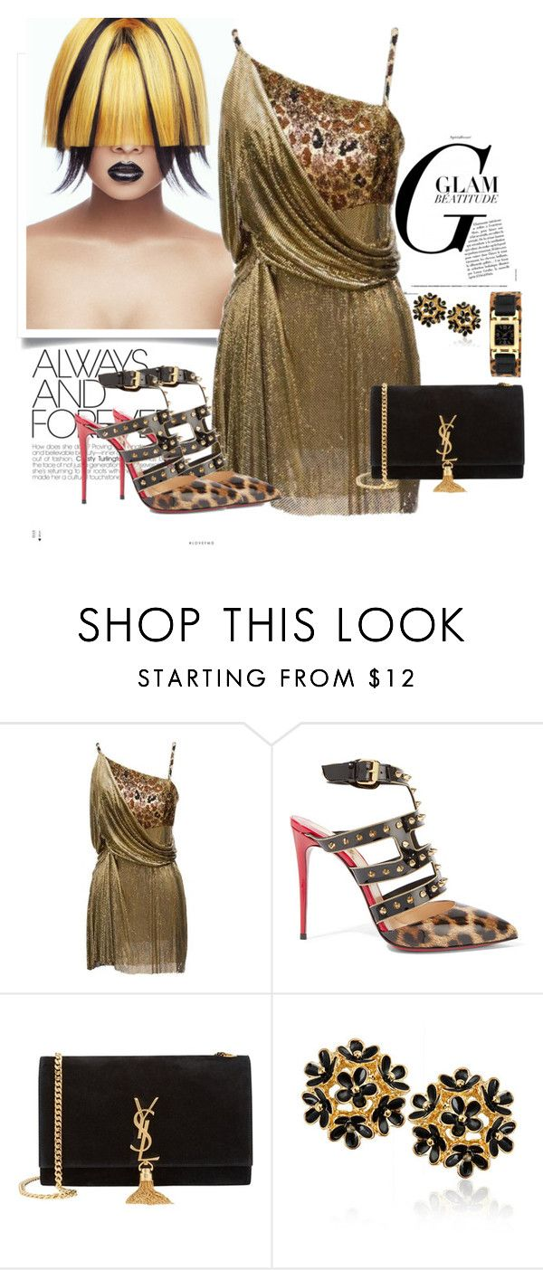 """""""a touch of leopard"""" by ljbminime ❤ liked on Polyvore featuring Versace, Christian Louboutin and Yves Saint Laurent"""