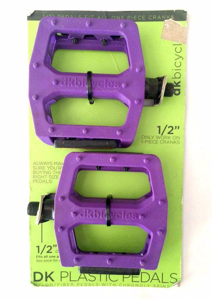 """DK Plastic Pedals 1//2/"""" PURPLE Platform for 1-piece Cranks BMX MTB PC"""