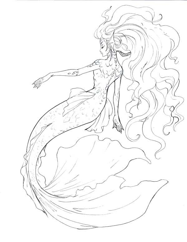 Mermaid line art