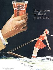 1920s Coca Cola ad , U.S. - girl on an aquaplane