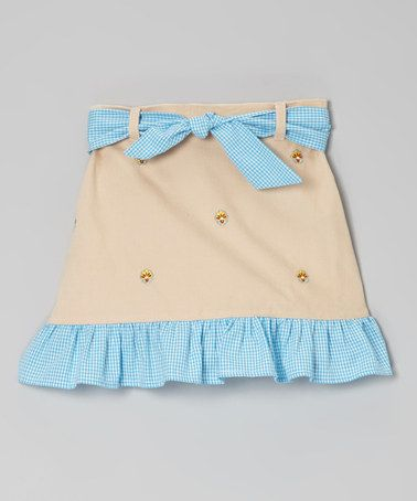 Take a look at this Khaki Flower Ruffle Skirt - Toddler & Girls by K&L on #zulily today!