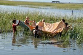 "Artist Betsy Cain, second from left, and friends maneuver her painting ""Marsh Shroud"" into place in the marsh. Photo courtesy of D..."