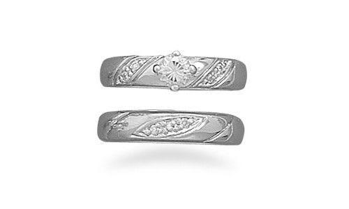 Bridal Rhodium Plated 2 Ring Set