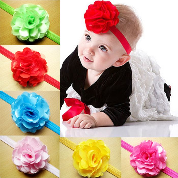 Baby Ribbons Girls Elastic Headdress Floral Hairband Flower Headband Toddler Bow