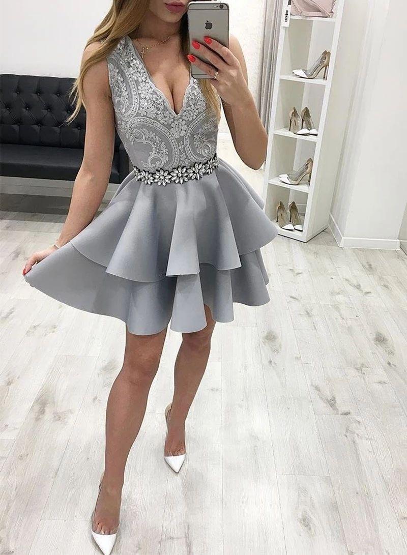 Gray V Neck Lace Sleeveless Homecoming Dress Satin Beaded Short Prom Dress Homecoming Dresses Short Short Prom Dress Mini Cocktail Dress [ 1091 x 800 Pixel ]