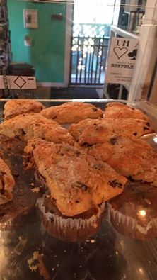 Check out these freshly made cranberry scones at Tybean. MMM!