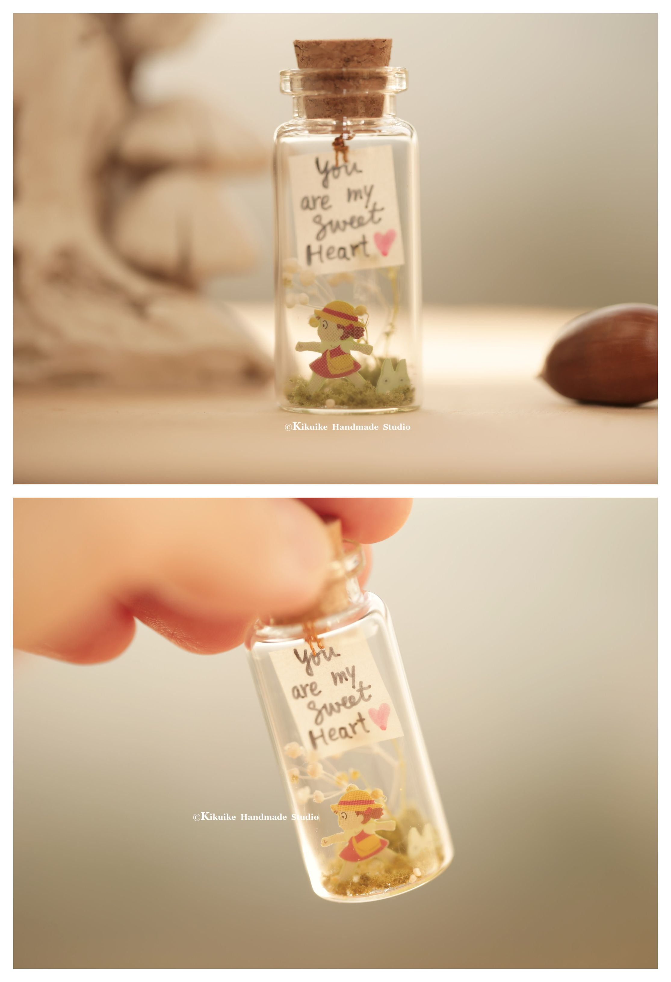 totoro decor Tiny message in a bottle Miniatures Personalised Gift