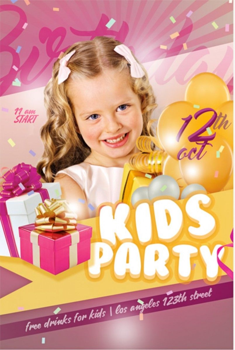KIDS PARTY FREE PSD FLYER TEMPLATE   Free Flyer Template   Pinterest