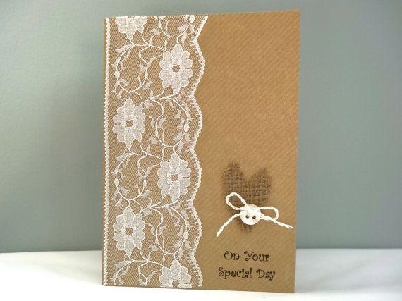 Rustic wedding day card - handmade wedding congratulations card - lace hessian…