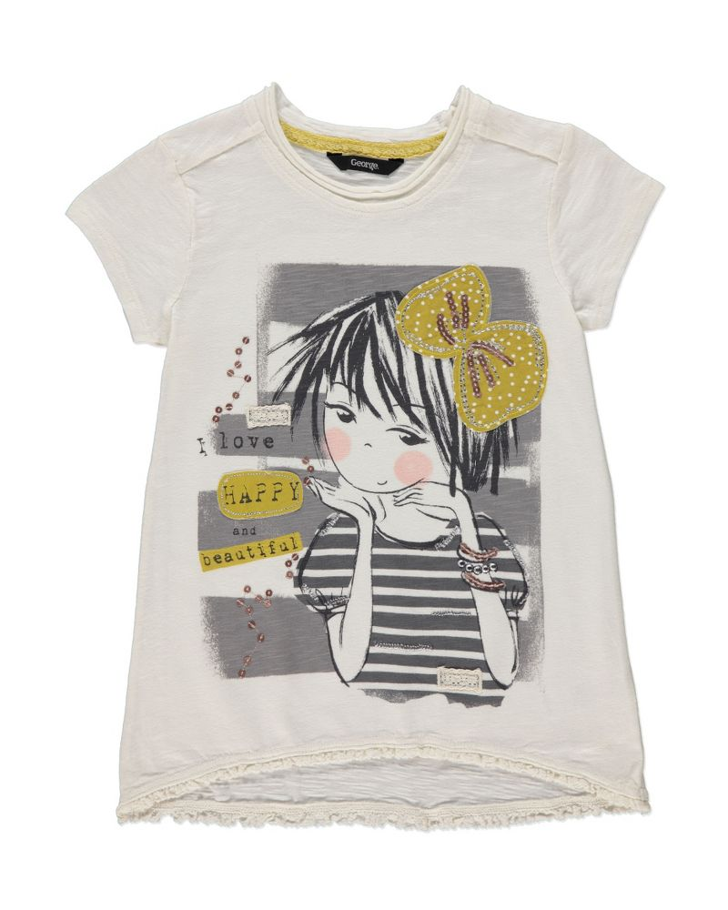 9eb222c126b96 Girl Graphic T-shirt | Girls | George at ASDA | Cute Girl ...