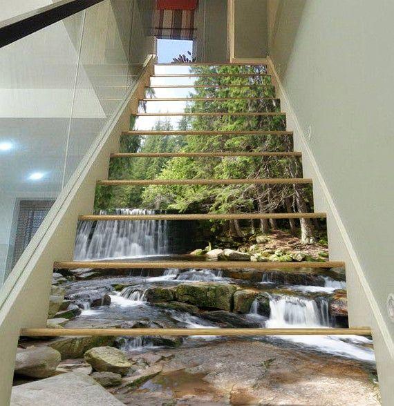 3D Wasserfall Gras KK315 Muster Fliesen Marmor Treppe Riser Dekoration Foto Wandbild Vinyl Aufkleber Wallpap