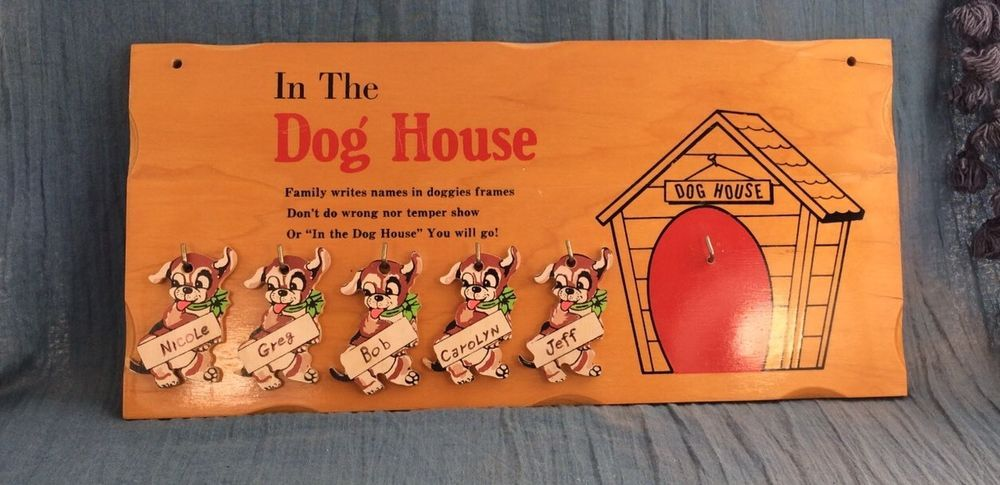 Vintage 1950 S In The Doghouse Family Dog House Wood Wall Plaque 5