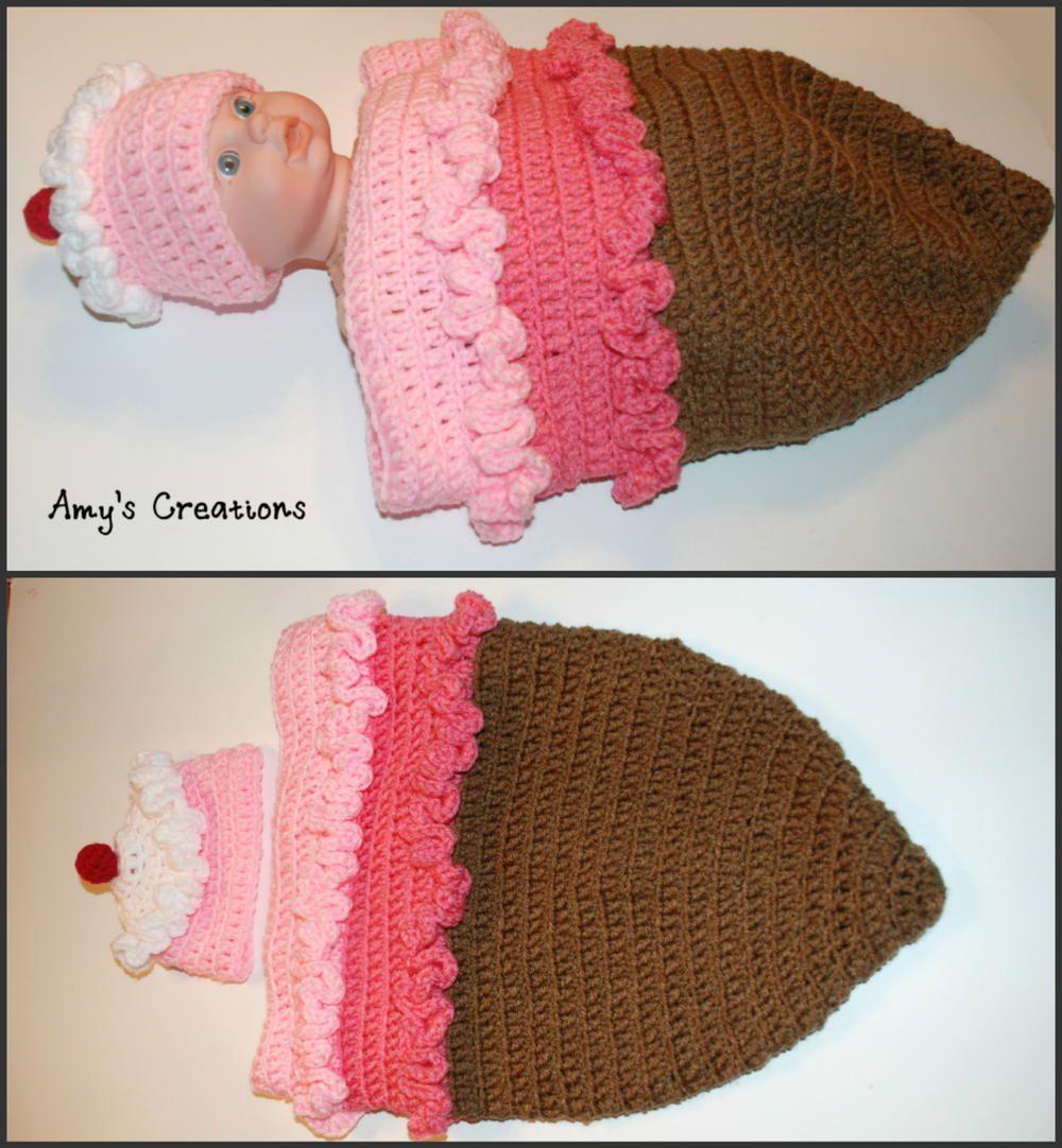 Crochet Ice Cream Cone Cocoon and Hat | Pinterest | Cobija y Manta