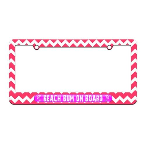 Beach Bum On Board Pink - Island Palm Trees - License Plate Tag ...
