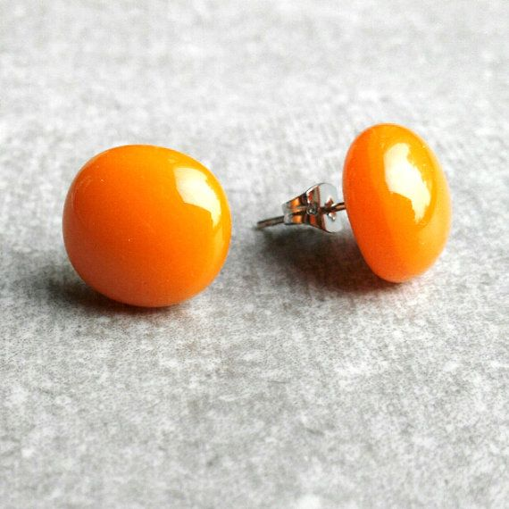 Orange Stud Earrings Orange Earrings Pumkin Orange by GLASPUNT