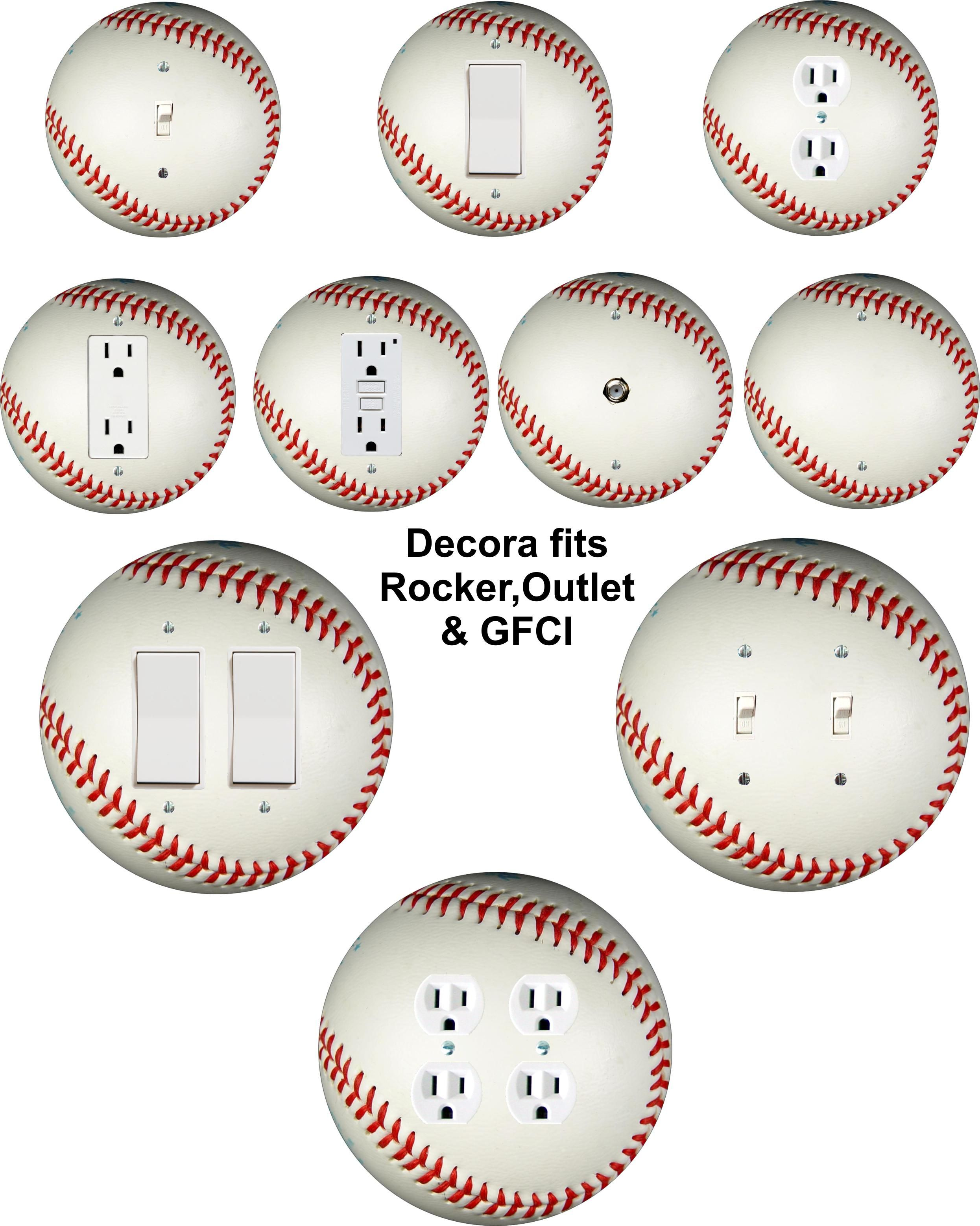 Baseball Themed Wall Plate Covers For Light Switch Toggle Duplex Outlet Decora Doubles Cabl Baseball Themed Bedroom Baseball Wall Baseball Room