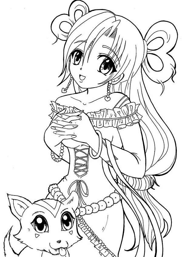 Anime Princess And Her Cat Coloring Page Jpg 600 215 848 Anime Princess Coloring Pages