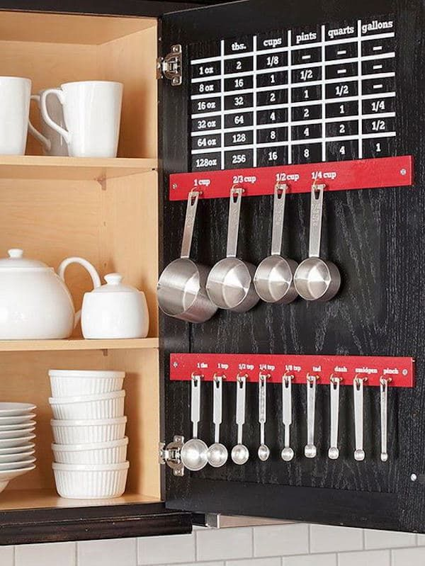 Whether or not your kitchen is large or small, these space saving tips might work well for you! How about utilizing the interior of cabinet doors? Always a great space for meal plans, shopping lists, and other notes, measuring cups, spoons, and a conversion chart fit the space perfectly, too, while keeping them out of your drawers!