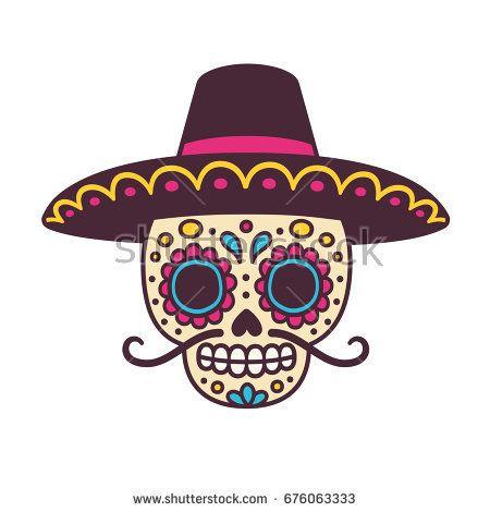 Cartoon Mexican sugar skull vector illustration for Dia de los Muertos (Day  of the Dead). Cute male skull with mustache and sombrero hat. 465f02e56ef
