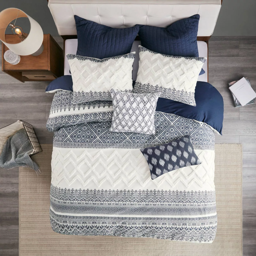 3pc Mila Cotton Printed Duvet Cover Set With Chenille Navy Duvet