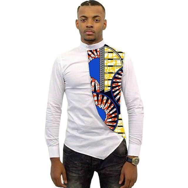 Asymmetrical Mens African Shirts Men Kitenge Dashiki Shirt Slim Fit African Clothing #kitengedesigns