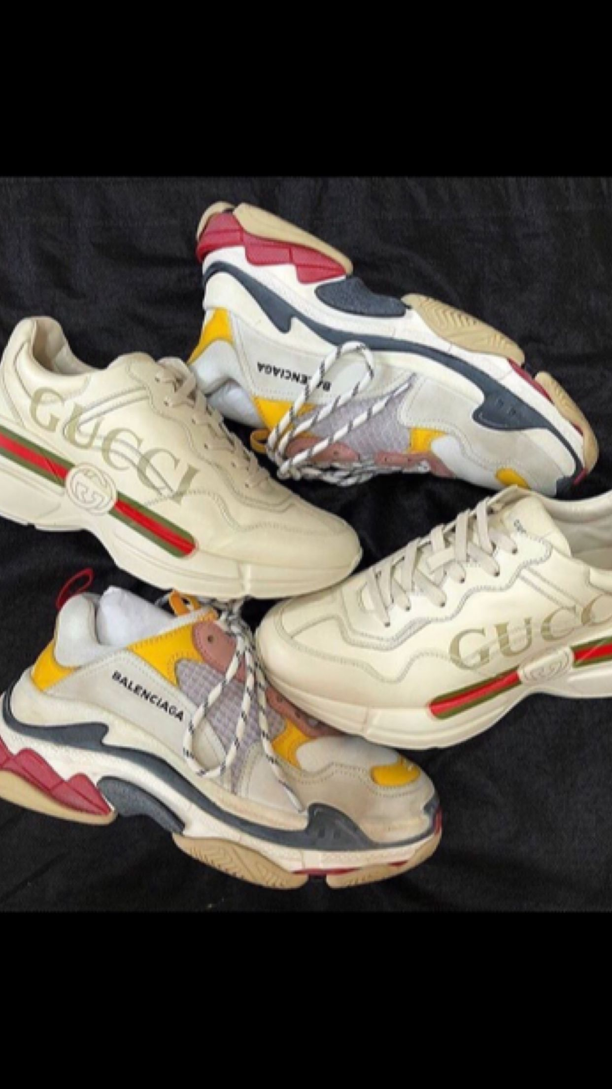 2ed0730e0d6 Daddy day care  Balenciaga Triple S x  Gucci Rhyton