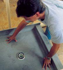Shower Pan Already Sloped Tile Over Saves Time Of Custom Mud