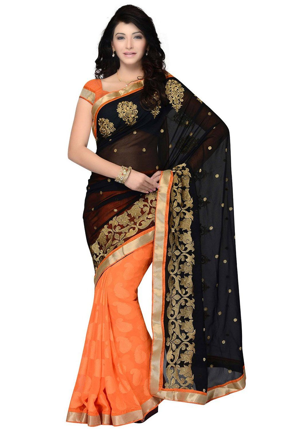 Best type of dress to wear to a wedding  Snazzy Wedding Wear Black u Orange Georgette Embroidered Ethnic