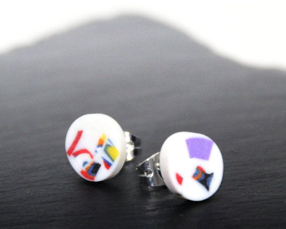 Funky Stud Earrings Recycled Look Ear Studs By Stoddartsmiscellany Polymer Clay Fimo Silver Plated