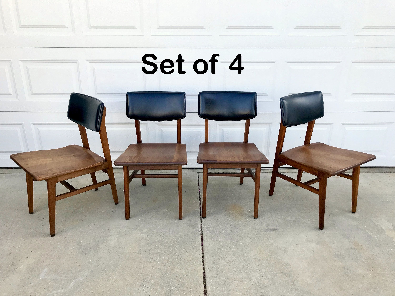 Mid Century Modern Walnut Chair Set Of 4 Gunlocke Chair Co