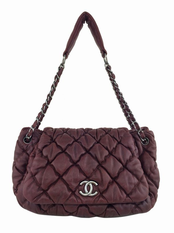 056a0cb51ad4 Chanel Lambskin Bubble Quilted Accordion Flap Bag Burgundy ...